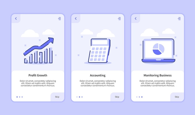 Profit growth accounting monitoring business for mobile apps template banner page ui Premium Vector