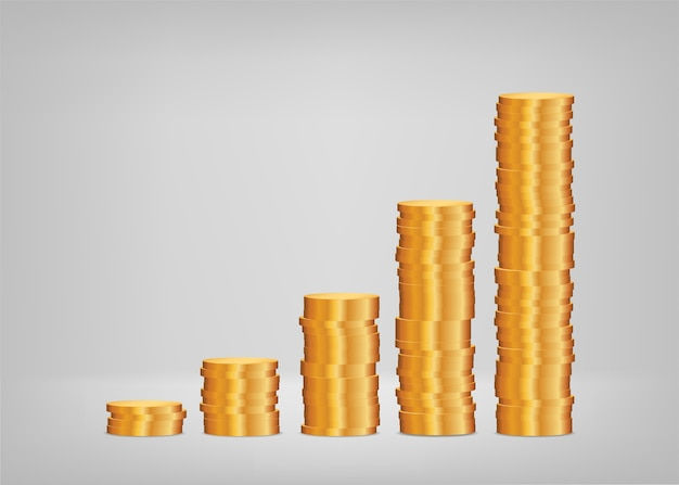 Profit growth, graph from stacks of coins Premium Vector