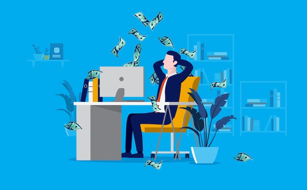 Profitable businessman in office getting paid and money raining down Premium Vector