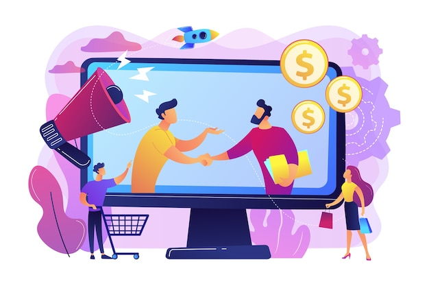 Profitable partnership, business partners cowork. affiliate marketing, cost effective marketing solution, affiliate marketing management concept. Free Vector