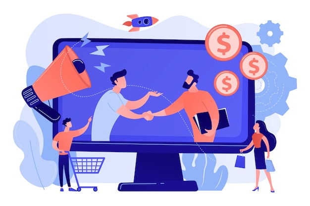 Profitable partnership, business partners cowork Free Vector