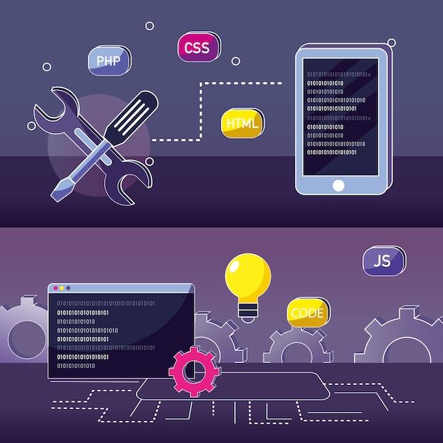 Program coding concept Premium Vector