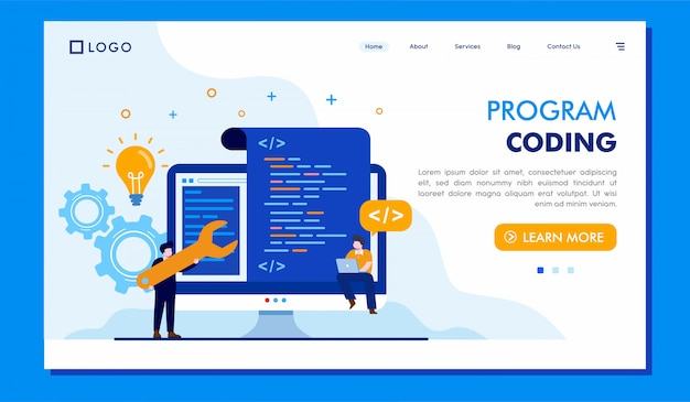 Program coding landing page website illustration vector design Premium Vector