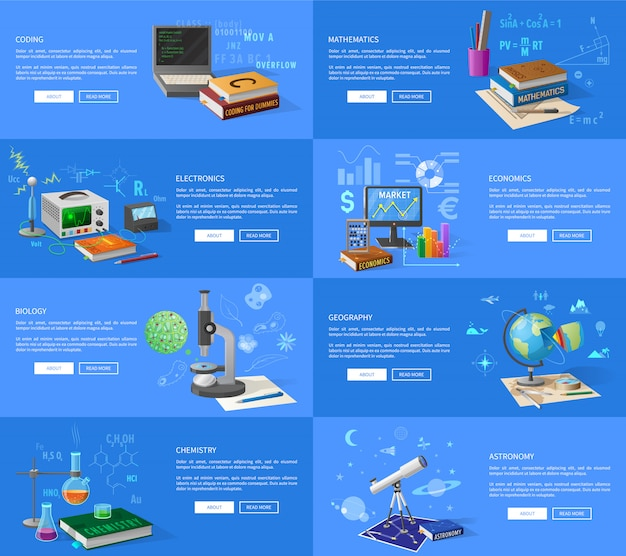 Program coding, maths and electronics lessons, economics class, biology and chemistry courses, geography and astronomy lectures Premium Vector