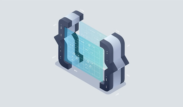 Program development and programming isometric icon, artificial intelligence automated process big d