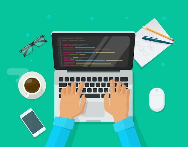 Programmer coding on laptop computer on work desk table top view  illustration cartoon flat Premium Vector