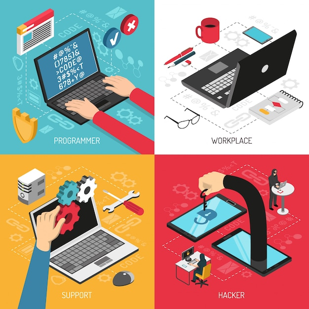 Programmer concept  4 isometric compositions Free Vector