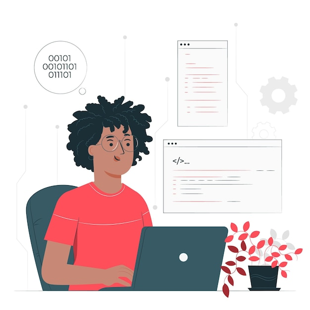 Programmer concept illustration Free Vector