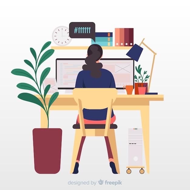 Programmer at desktop working illustration Free Vector