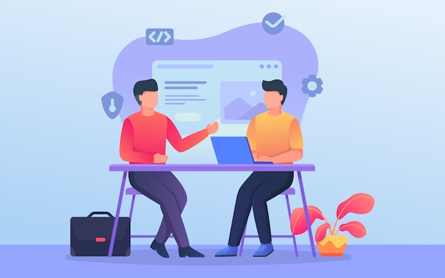 Programmer or developer discussion team when work on office with related background theme Premium Vector