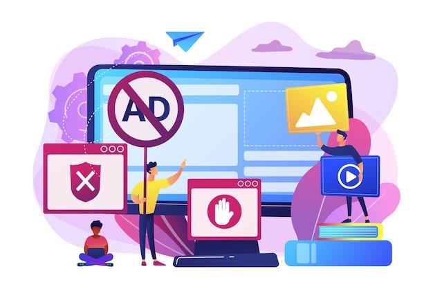 Programmatore che sviluppa un programma antivirus. contenuti internet vietati. software di blocco degli annunci, rimozione della pubblicità online, concetto di strumenti di filtraggio degli annunci. Vettore gratuito