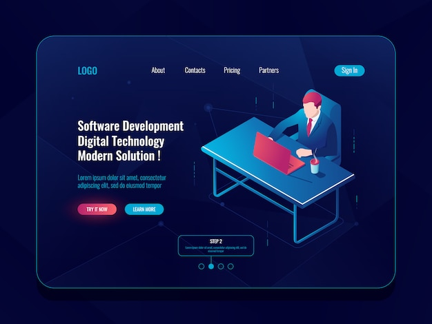 Programmer and engineering development isometric icon, man sitting at a table, software develop Free Vector