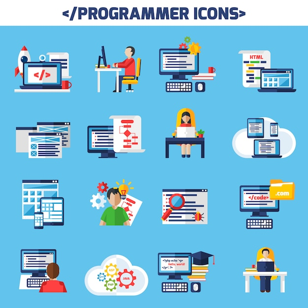 Programmer flat color decorative icons set Free Vector