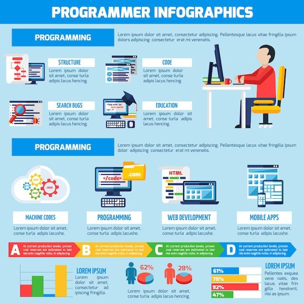Programmer infographics flat layout Premium Vector