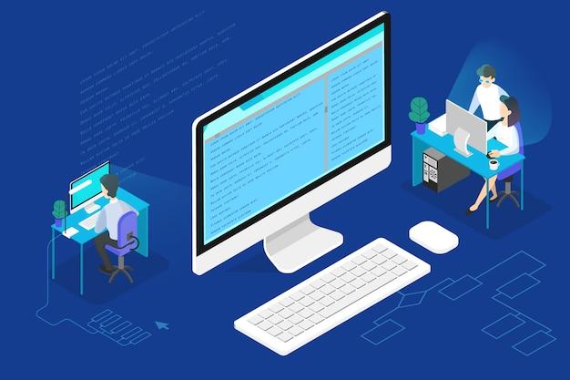 プログラマーまたはweb開発者の概念。コンピューター、コーディング、プログラミングソフトウェアの作業。等角投影図 Premiumベクター