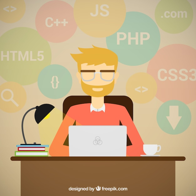 Programmer and process coding Free Vector