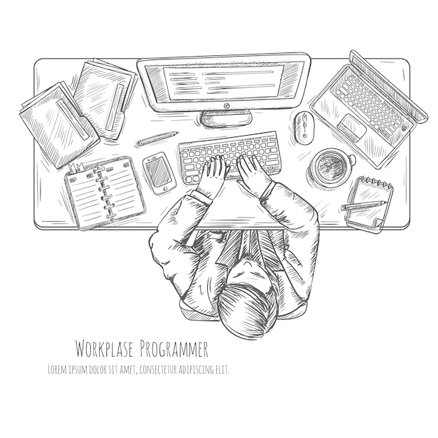 Programmer work place with man at the table top view sketch Free Vector