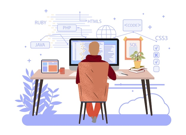 Programmer working on computer engineering or coding website php python javascript vector concept