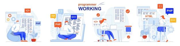 Programmer working concept set software development code programming testing
