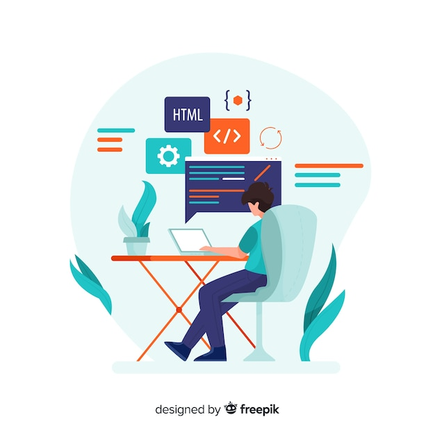 Programmer working in flat style Free Vector