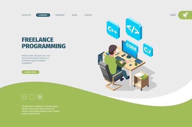 Programmer working landing. designer or artist sitting at computer freelancer programmability vecto