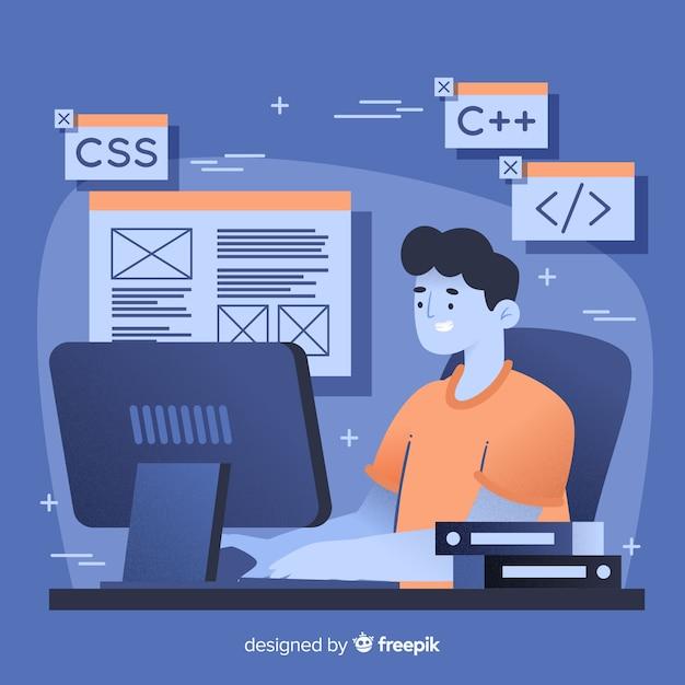 Программист, работающий с c ++ Бесплатные векторы