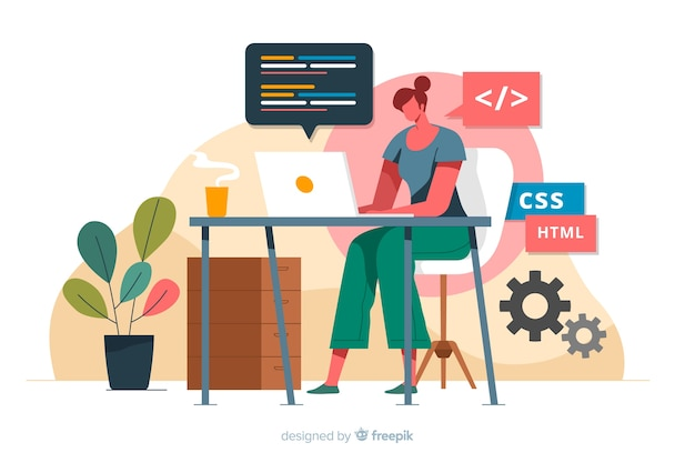 Programmer working with css Free Vector