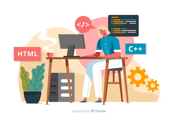 Programmer working with html Free Vector