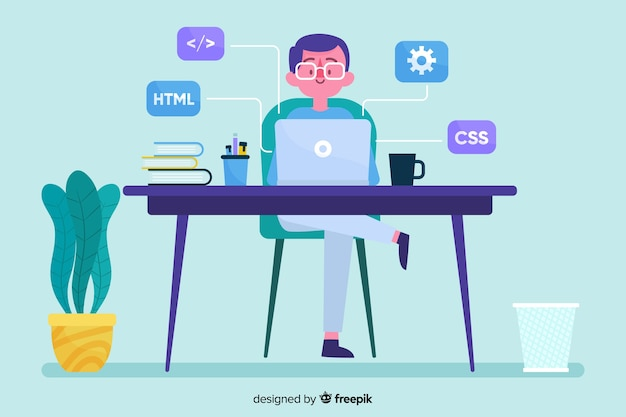 Programmer working with man at the desk office Free Vector