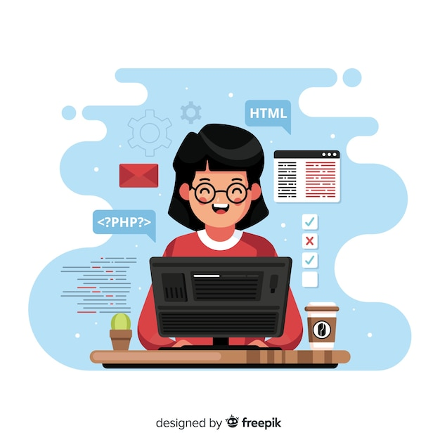 Programmer working with php Free Vector