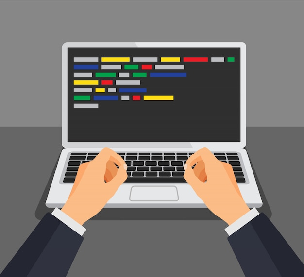 Programmer working writing code. man typing on the keyboard with code on the screen. web developer, design, programming. coding concept. isolated illustration. Premium Vector