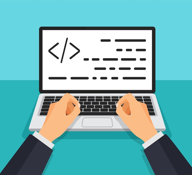 Programmer working writing code. man typing on the keyboard with code on the screen. web developer, design, programming. coding concept. Premium Vector