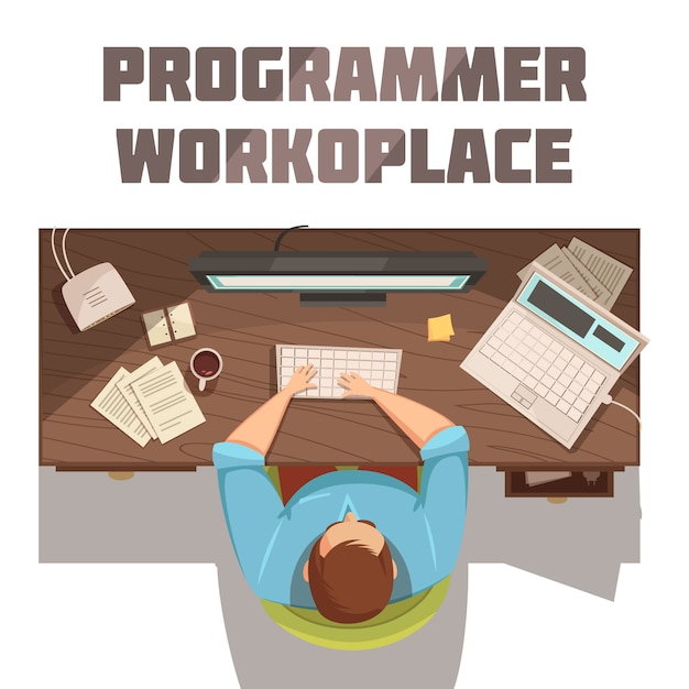 Programmer workplace cartoon concept with coffee papers and computer vector illustration Free Vector