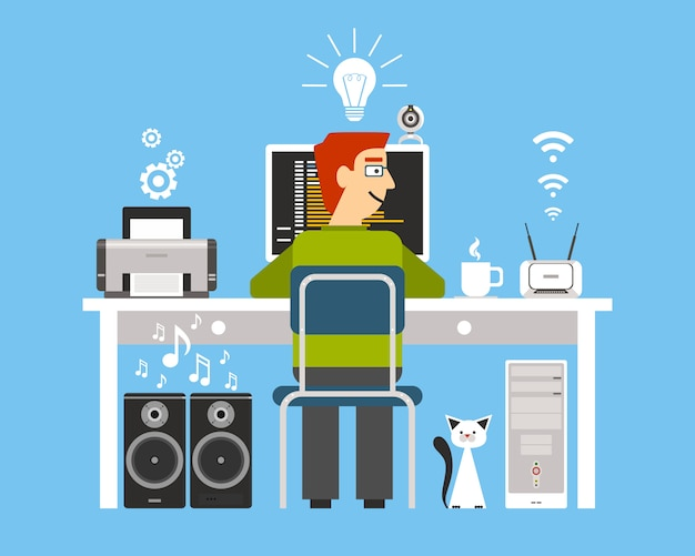 Programmer on workplace with computer devices Free Vector