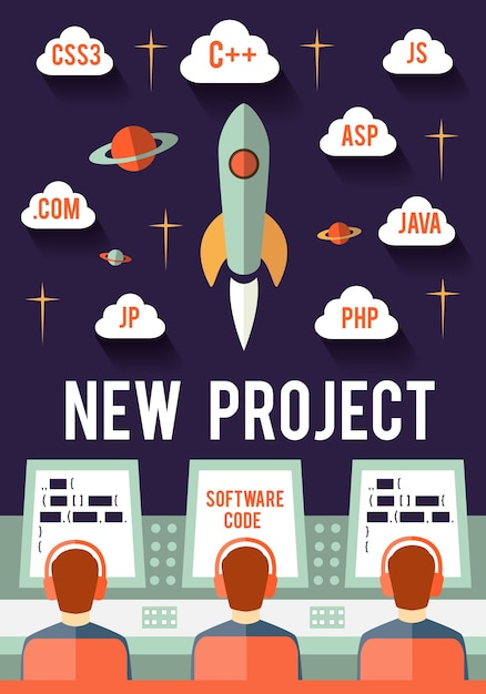 Programmers are launching new web or app startup project Free Vector