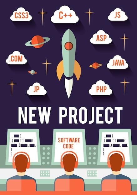Программисты запускают новый стартап-проект в интернете или приложении Бесплатные векторы