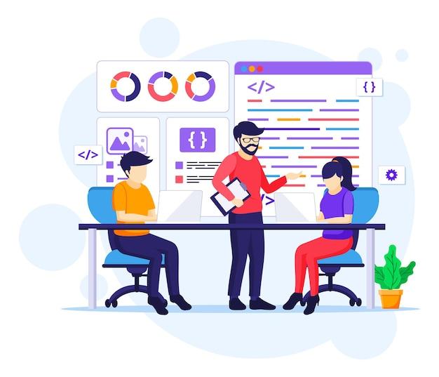 Программисты за работой концепции, люди работают за столом, используя ноутбуки, программирование и кодирование плоской иллюстрации Premium векторы