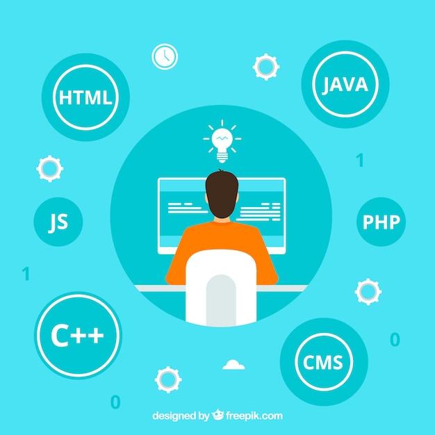 Концепция программистов с плоским дизайном Premium векторы