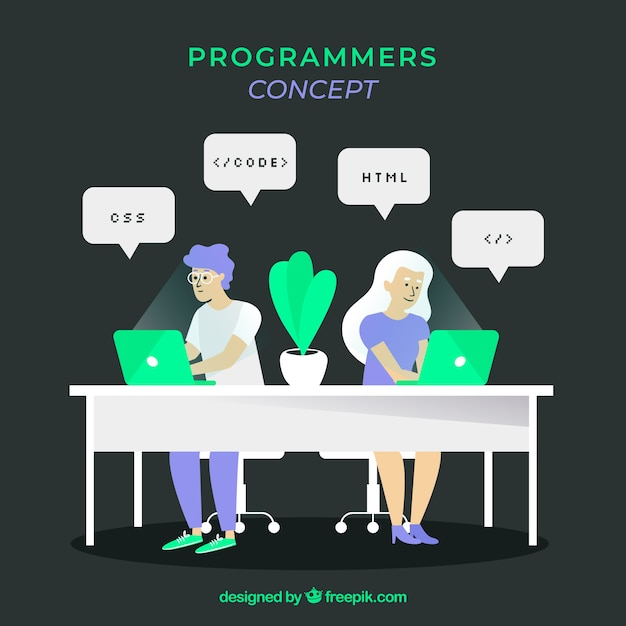 Концепция программистов с плоским дизайном Бесплатные векторы