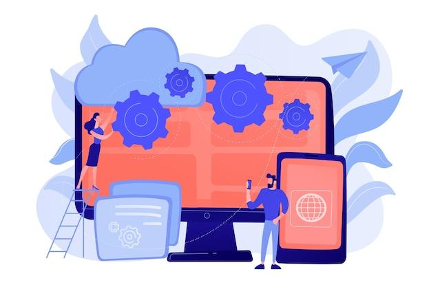 Программисты разрабатывают программу для платформ. кросс-платформенное программирование, кроссплатформенная разработка и концепция структуры Бесплатные векторы