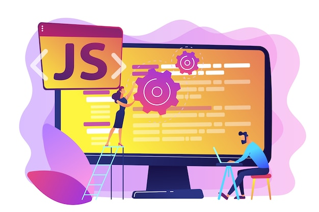 Programmers using javascript programming language on computer, tiny people. javascript language, javascript engine, js web development concept. bright vibrant violet  isolated illustration Free Vector