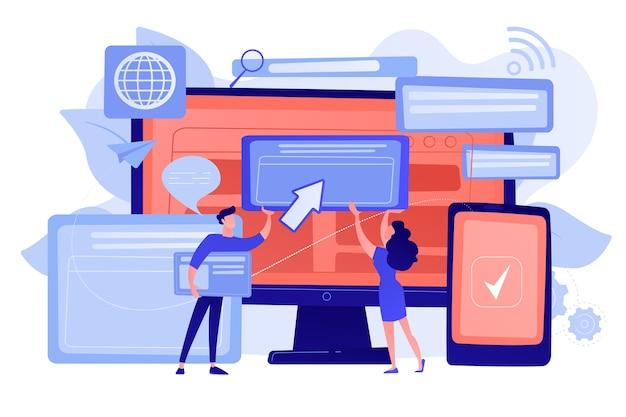 Programmatori con finestre browser e pc e tablet. compatibilità cross-browser, cross-browser e concetto compatibile con browser Vettore gratuito