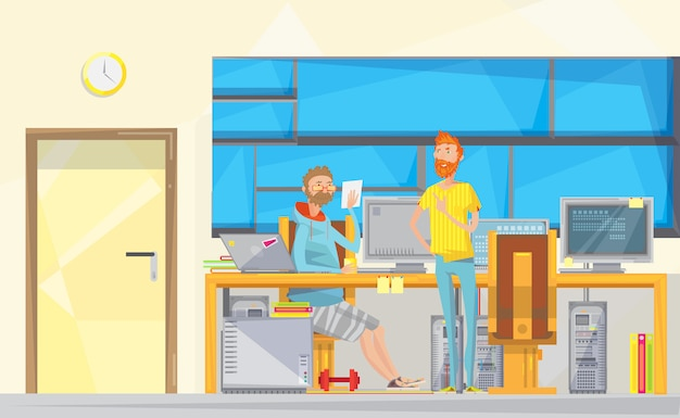 Programmers at work composition Free Vector