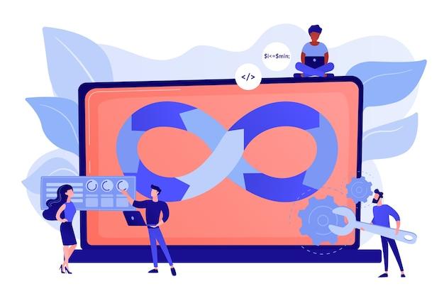 Программисты работают над проектом. методология разработки веб-сайтов. техподдержка Бесплатные векторы