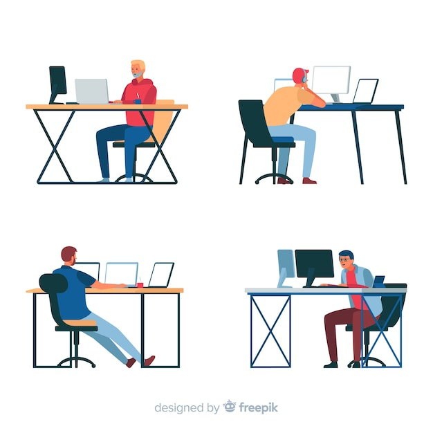 Programmers working with monitors Free Vector