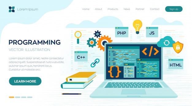 プログラミングコーディング。開発とソフトウェアのコンセプト。職場とラップトップのランディングページでの作業 Premiumベクター