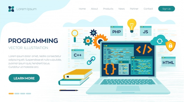 Programming coding. development and software concept. workplace and working on laptop landing page Premium Vector