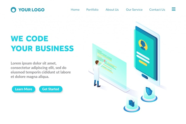 Programming and coding isometric landing page template Premium Vector