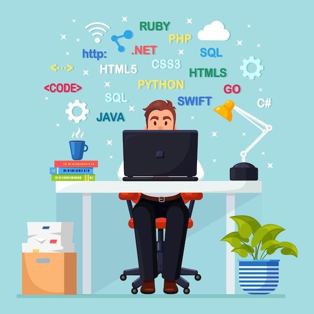 Программирование, кодирование. программист сидит за столом и работает. стол офисный с ноутбуком, документы Premium векторы