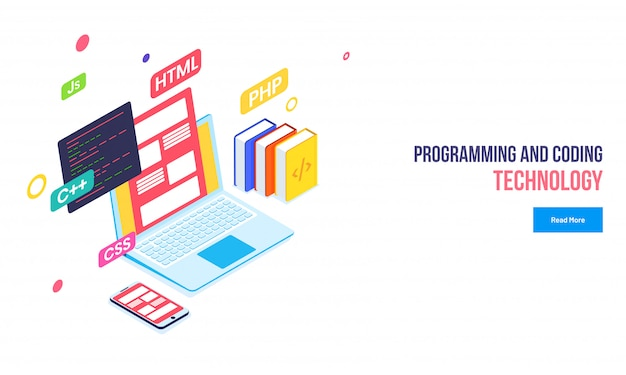 Programming and coding technology. Premium Vector